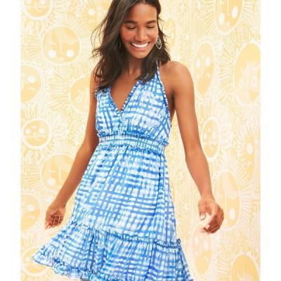 ワンピース リリーピュリッツァー Lilly Pulitzer CAILEE HALTER DRESS Bennet Blue Feelin Beachy White Ruffle M