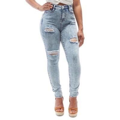 ドールハウス デニムパンツ ボトムス レディース Juniors Acid Wash High Rise Curvy Distressed Jeans Elwood