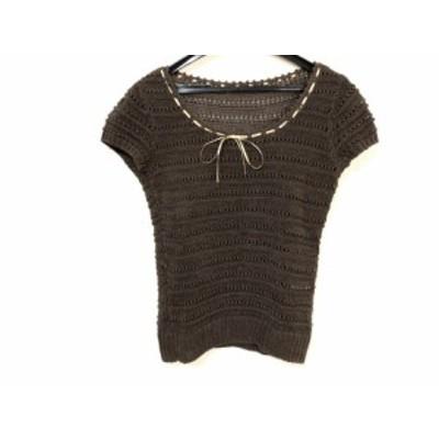 レリアン Leilian 半袖セーター サイズ9 M レディース ダークブラウン×ゴールド シルク混【中古】20191228