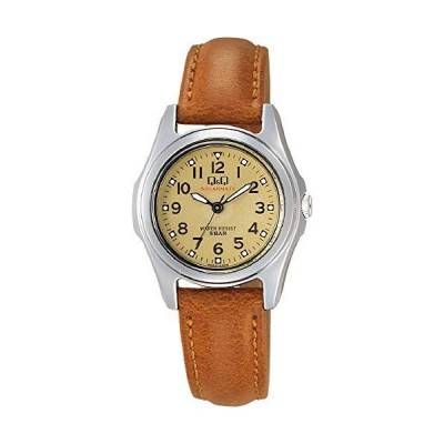[シチズン Q&Q] 腕時計 アナログ ソーラー 防水 革ベルト H045-303 レディース ブラウン