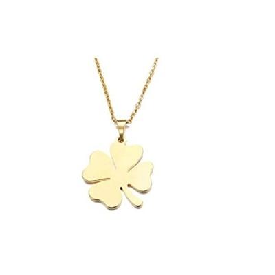 特別価格Gold Four Leaf Clover Shamrock Necklace for Women 17 Inch Stainless Steel L好評販売中