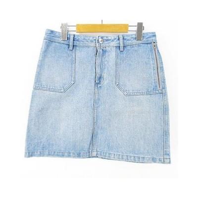 【中古】アーペーセー A.P.C. デニム 膝丈 台形スカート S ブルー系 綿 コットン  レディース 【ベクトル 古着】
