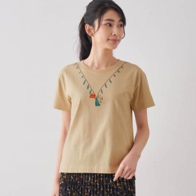プリントTシャツ ベージュ(パンプス・バッグ) 4L 5L 6L