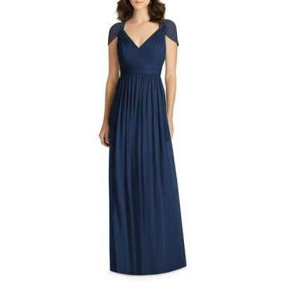 ジェニー・パッカム レディース ワンピース トップス V-Neck Cap-Sleeve Lux Chiffon Column Bridesmaid Gown w/ Cutout Back