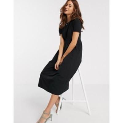 リバーアイランド レディース ワンピース トップス River Island poplin maxi t-shirt dress in black Black