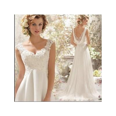 ウエディングドレスロングドレス二次会結婚式披露宴司会者舞台衣装花嫁透かし彫り