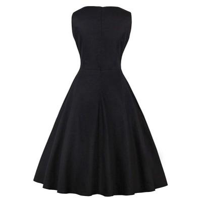 50年代 クラシック ワンピース aライン ワンピース レディース ワンピース・ドレス ロカビリー ワンピース パーティー (2XL, 黒)