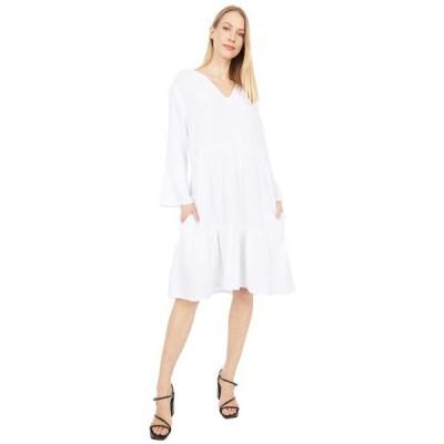 モッドドック レディース ワンピース トップス Double Layer Gauze Mandarin Collar Dress with Ruffle Hem