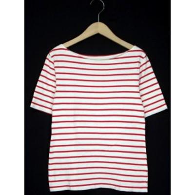 【中古】ヨハク yohaku No.18 オハコ カットソー バスクシャツ ボーダー 半袖 白 赤 レディース