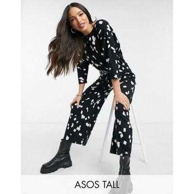 エイソス ASOS Tall レディース オールインワン ジャンプスーツ ワンピース・ドレス tall jersey tie waist slub jumpsuit in abstract square print
