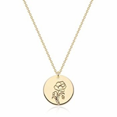 LADYGD Birth Month Flower Necklace Gold for Women Carved Disc Flower Charms Necklace Plated 14k Gold Dainty Round Pendant Neckla