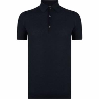 ジョンスメドレー JOHN SMEDLEY メンズ ポロシャツ トップス Roth Waffle Knitted Polo Shirt Navy