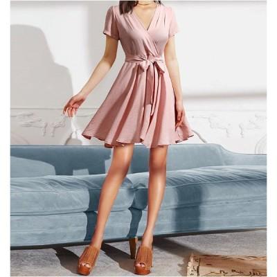 大きいサイズ M-4XL ファッション 人気ワンピース ピンク ダークブルー2色展開
