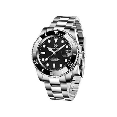 OGEDA 腕時計 メンズ フルスチール クォーツ アナログ 腕時計 メンズ 高級ブランド 防水 日付 ビジネスウォッチ シルバーブラック