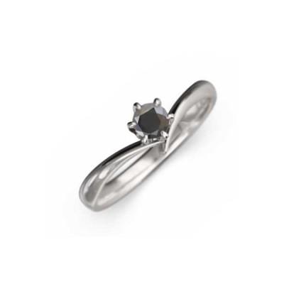指輪 1粒 石 ブラックダイアモンド Pt900 4月誕生石