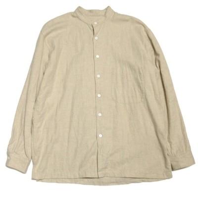 【4月12日値下】s.k. manor hill バンドカラーコットンシャツ ベージュ サイズ:L (神戸三宮センター街店)