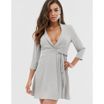 エイソス ASOS DESIGN レディース ワンピース ワンピース・ドレス pleated wrap mini dress Grey
