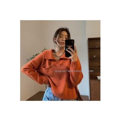 【送料無料】セーターの女性 アーリー 秋 レトロ 気質 襟 ルース 着やせ | 346770_A63722-3134207