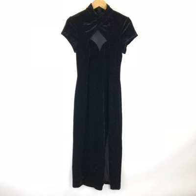 パーティードレス ベロア シースルー切替え ロングスリット 無地 半袖 マキシ丈 ブラック系 レディースXS n011802