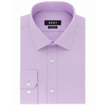 DKNY ダナキャランニューヨーク ファッション ドレス DKNY NEW Purple Ice Lilac Mens Size 16 1/2 Slim Fit Check Dress Shirt
