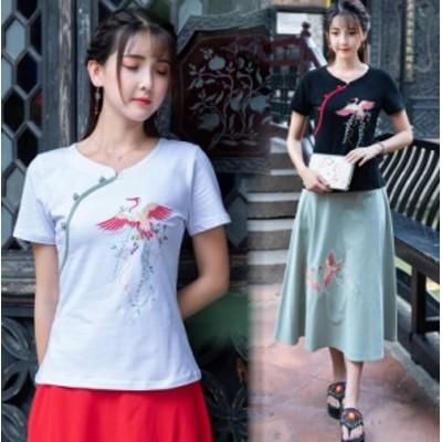 2色 レディース チャイナ トップス 花柄 民族風 Vネック Tシャツ 夏 大きいサイズ 刺繍 半袖 斜めボタン M-4XL
