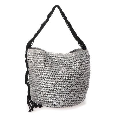 クーコ COOCO かごバッグ レディース ショルダーバッグ 大人 マクラメ編み 柔らかい A4 (シルバー)