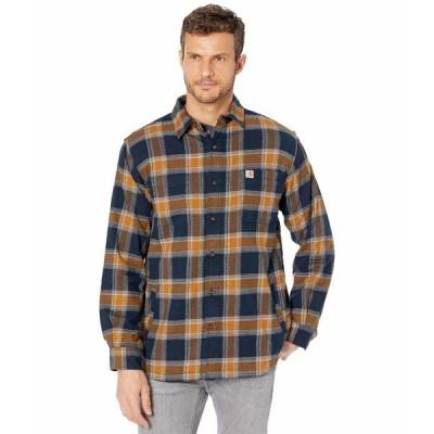 カーハート シャツ トップス メンズ Rugged Flex Relaxed Fit Flannel Fleece Lined Plaid Shirt Navy