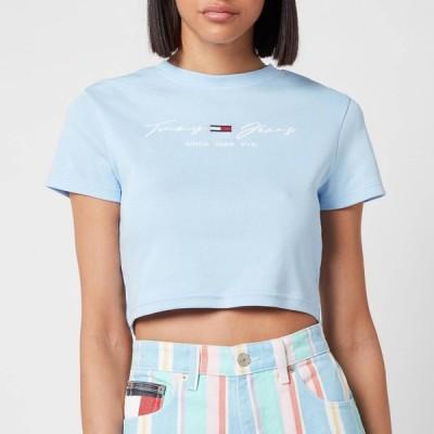 トミー ジーンズ Tommy Jeans レディース Tシャツ ベビードール トップス TJW Rib Babydoll T-Shirt - Light Powdery Blue Light Blue