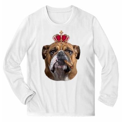 【ブルドッグ ドッグ 犬 いぬ 王冠】メンズ 長袖 Tシャツ by Fox Republic