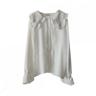 かわいい 長袖シャツ ブラウス シャツ レディース トップス ゆったり 無地 オフィス カジュアル 長袖 体型カバー 透けない シフォン ギャザー パフスリーブ