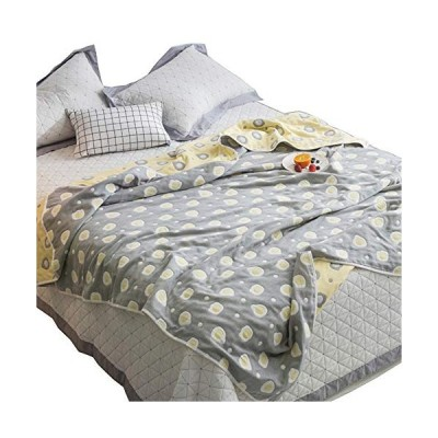 Hanacat 6重ガーゼケット ダブル 綿100% 肌掛け ふわふわ 吸湿性 洗えるタオルケット タマゴ柄 グレー(200×230cm)