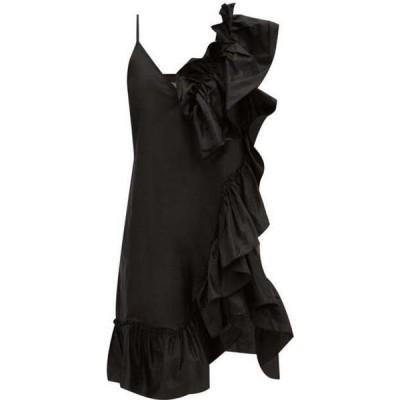 マルケス アルメイダ Marques'Almeida レディース パーティードレス ワンピース・ドレス Asymmetric Ruffled Silk-Tafetta Dress Black