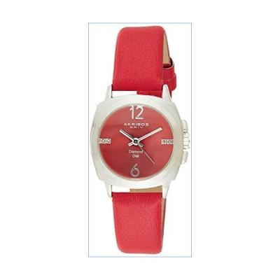 Akribos XXIV Women's Genuine Diamond Watch - Swiss Quartz Movement On Sunburst Effect Dial With Satin Over Nubuck Leather Strap - AK742並行輸入品
