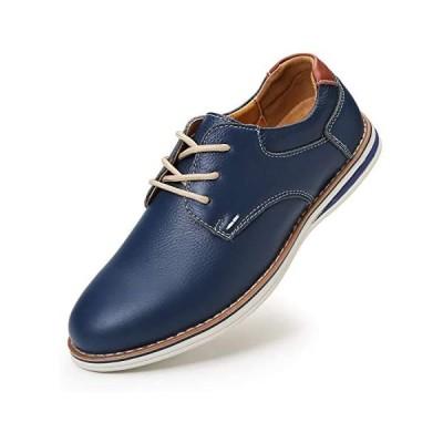 [NEARDREAM] カジュアルシューズ メンズ 本革 革靴 レースアップシューズ カジュアル靴 軽量 防滑 (ブルー 26.0 cm 3E)