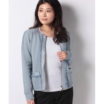 【レリアン】 フリンジジップニットジャケット レディース ブルー系 9 Leilian