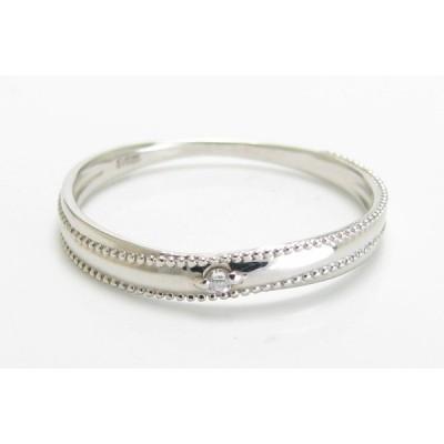 K10WG ダイヤモンド ミル打ち 1石デザイン リング 指輪 ソリテール