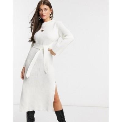 ユニーク21 レディース ワンピース トップス Unique21 roll neck maxi sweater dress in white White