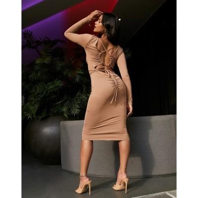 エイソス レディース ワンピース トップス ASOS DESIGN long sleeve open back body conscious midi dress in camel Camel