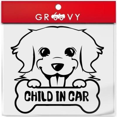 ゴールデンレトリバー  犬 シール 赤ちゃん 子供 乗ってます CHILD IN CAR チャイルド イン カー 車 エンブレム ステッカー デカール