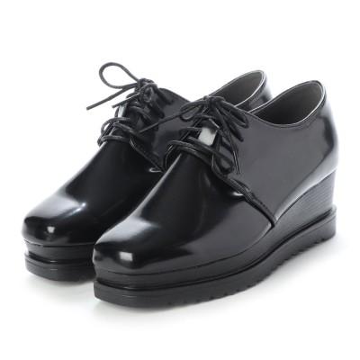 SFW ラブハンター LOVEHUNTER 高めのヒールで美脚効果抜群の'おじ靴'厚底スクエアマニッシュシューズ/1510 (ブラックエナメル)