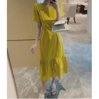 ペプラムワンピース 白 黄 ひざ丈 シンプル 無地 きれいめ 秋物 冬物 最新 レディース ファッション 2020 人気 可愛い 大人