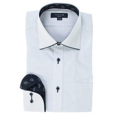 形態安定スリムフィットワイドカラーパイピング長袖ビジネスドレスシャツ/ワイシャツ