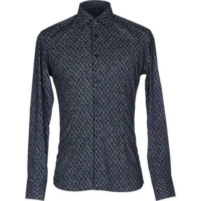 エレディ デル ドゥーカ EREDI DEL DUCA メンズ シャツ トップス Patterned Shirt Dark blue