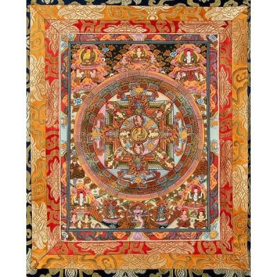 送料無料 タンカ マンダラ 曼荼羅 手描きのタンカ 〔一点物〕装丁付肉筆仏画(タンカ) 釈迦陀如来曼荼羅