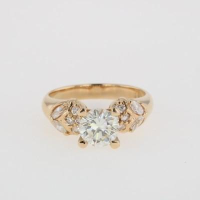 ダイヤモンド デザインリング K18 イエローゴールド 指輪 リング 10号 YG ダイヤモンド レディース 中古