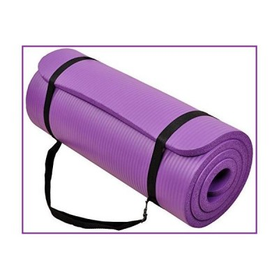 """BalanceFrom GoCloud All-Purpose 1-Inch Extra Thick High Density Anti-Tear Exercise Yoga Mat with Carrying Strap (Purple), 71"""" Long 24"""" Wide"""