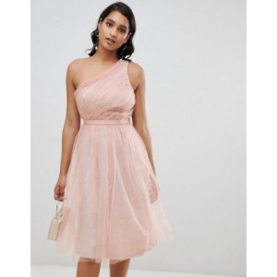 エイソス レディース ワンピース トップス ASOS DESIGN one shoulder tulle midi dress with glitter lining Pink