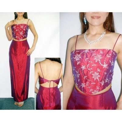 カラードレス [ロマンティックなハートピンクのトップにキラキラ輝くシルバーの刺繍花] CM-012