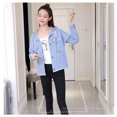 デニムジャケットレディースファッションコートフード付きアウトドア春の出掛にシンプルカジュアルスタイル