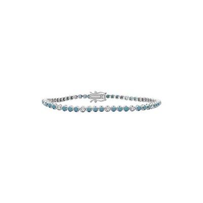 [新品]1.90mm Turquoise with Simulated Diamond in 14K White Gold Over 925 Sterling